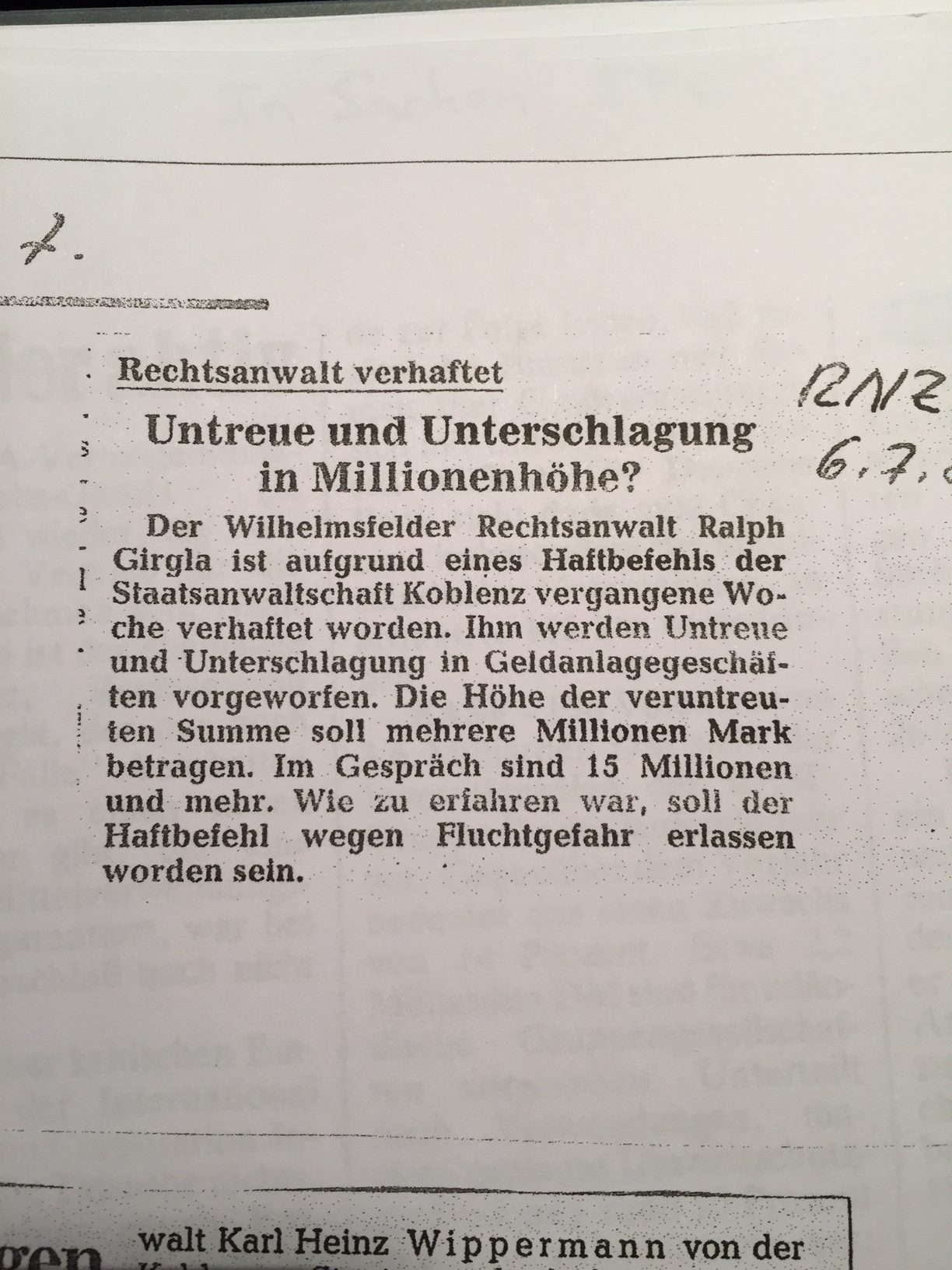 Ralph-Volker Girgla Betrueger